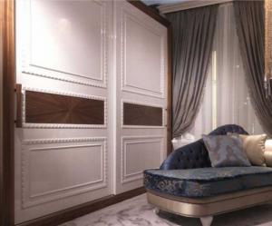Шкаф купе с эмитацией филенки и фигурной накладкой, ламинация, шпон, эмаль Благовещенск
