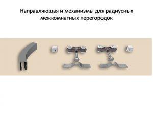 Направляющая и механизмы верхний подвес для радиусных межкомнатных перегородок Благовещенск